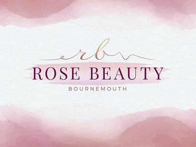 Rose Beauty Bournemouth - Nail and Beauty Salon Logo Design brush watercolor nail salon beauty salon logo