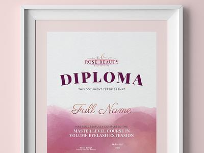Rose Beauty - Nail and Beauty Salon Certificate Design frame print a4 certificate diploma logo beauty salon nail salon watercolor brush