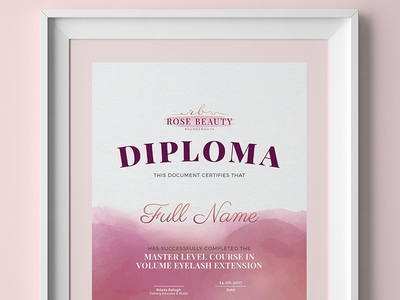 Rose Beauty - Nail and Beauty Salon Certificate Design frame print a4 certificate diploma logo beauty salon nail salon watercolor brush