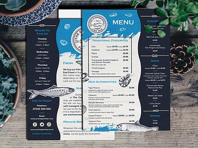 Fish Bar A5 Menu Flyer a5 print design print fish menu fish flyer menu