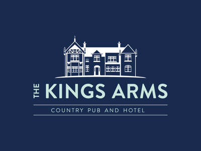 The Kings Arms - Country Hotel Logo Design building navy pub hostel hotel branding logo