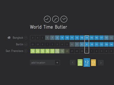 World Time Butler ui interface design web design clock world time
