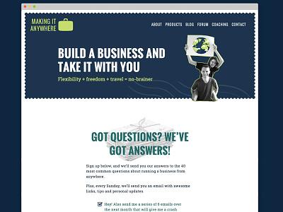 Making It Anywhere redesign web design blog landing page wordpress bootstrap