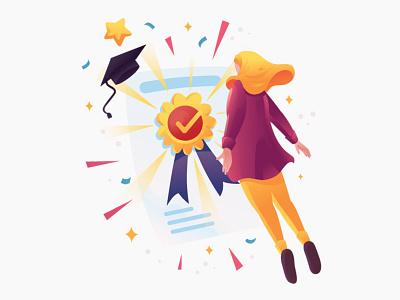 Certification Illustration certificates certified medal graduation certificate design certificate certification award illustration pack branding website graphic design vector illustration graphics character vector illustration design