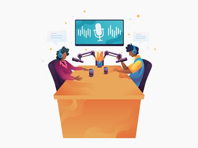 Podcast - Illustration microphone broadcast broadcasting radio online radio record recording podcasting podcast art podcasts podcast technology website vector illustration graphics character vector illustration design