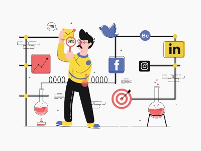 SEO - Illustration search engine searching search results search search engine marketing search engine optimization search engine optimizing seo company seo agency seo services seo website graphic design vector illustration graphics character vector illustration design