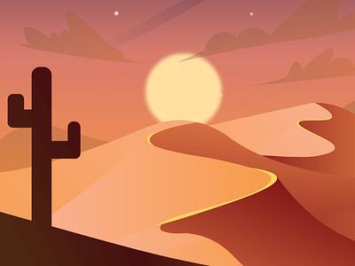 Desert (sunset-night-day) Scenic Illustrations free png vector animation illustration pixel true desert beautiful background free illustration