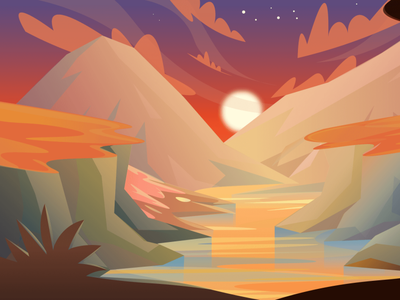 Hills and mountains (day- night- sunset) Scenic Illustrations landmarks pixel true free png beautiful background background illustrations free illustrations