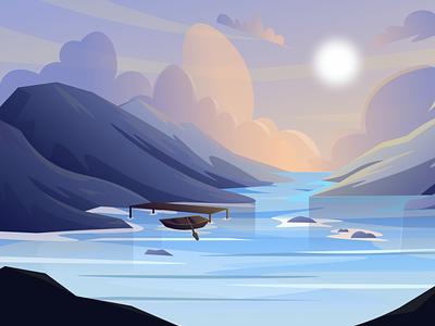 Lake (day-night-sunset) Scenic Illustrations landmarks pixel true free png beautiful background background illustrations free illustrations