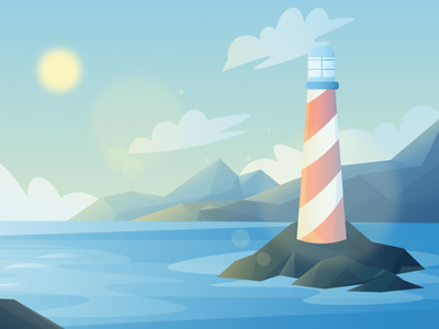 Sea-the-lighthouse (day-night-sunset) Scenic Illustrations landmarks pixel true free png beautiful background background illustrations free illustrations