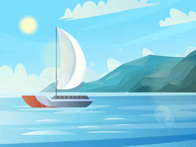 Sea-with-the-ship (day-night-sunset) Scenic Illustrations landmarks pixel true free png beautiful background background illustrations free illustrations