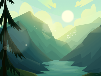 Valley (day-night-sunset) Scenic Illustrations landmarks pixel true free png beautiful background background illustrations free illustrations