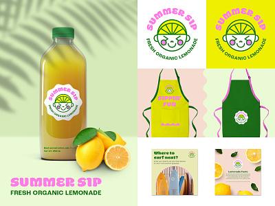Brand Identity for Lemonade Stand - Summer Sip label product lemonade illustration shot playoffs dribbble free illustration