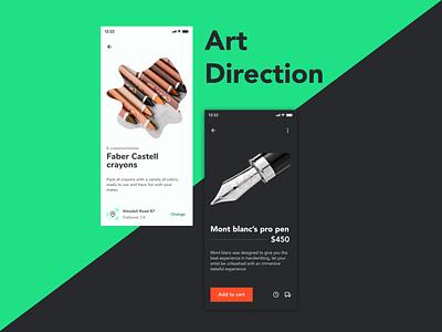 Art Direction product design shopping cart ui