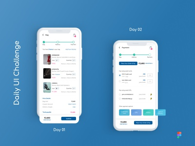 Daily UI Challenge: Days 01 & 02: Cart & Payment screens figma daily challenge shopping app online shopping payment screen shopping cart ux design ui design