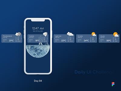 Daily UI Challenge: Day 04: Weather Widget figma weather notification mobile ui mobile app ux design ui design daily challenge weather widget