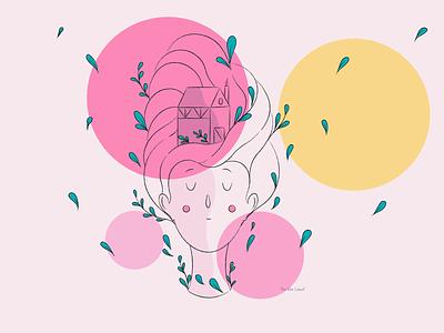 Dream digital illustration sleep home dream pink yellow abstract art adobe illustrator illustration