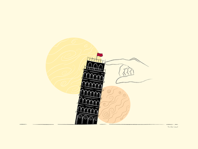 The Saviour of Pisa hand illustration black tower yellow adobe illustrator digital illustration abstract art pisa tower of pisa illustration