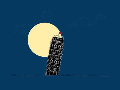The Saviour of Pisa Night Version adobe illustrator digital illustration abstract art tower of pisa illustration