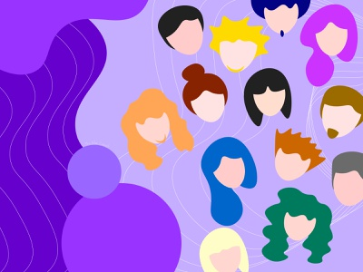 Target Audience user end user abstract illustration adobe illustrator purple blobs crowd illustration people illustration target audience