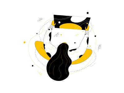 The Reviewer design review designer adobe illustrator character illustration line illustration white background black yellow illustration