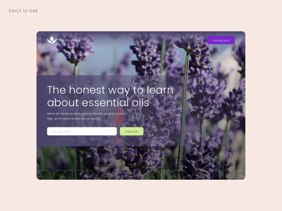 Daily UI 048 - Coming Soon aromatherapy essential oils coming soon daily ui 48 daily ui 048 daily ui dailyui