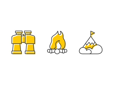 Outdoor Icons minimal two color summit mountain top campfire binoculars icons illustrator