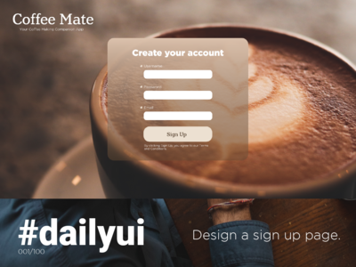 #dailyui 001/100: Create a Sign Up Page.