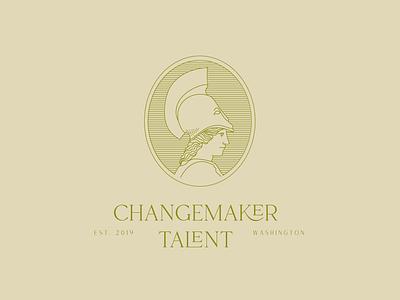 Changemaker Talent Logo illustration mythology athena branding concept logo design logo concept logo branding branding agency brand design