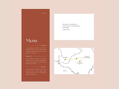 Wedding Menu and Map print design print stationery design stationery invitation illustration menu card menu design menu wedding invitation wedding stationery wedding gold foil gold map illustration map design