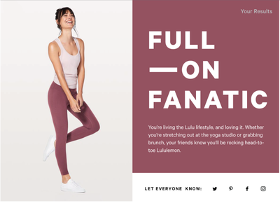 Lululemon Obsession Quiz Results Page typography type landing page concept microsite web design landing page design landing page quizzes quiz ecommerce wellness fitness lululemon