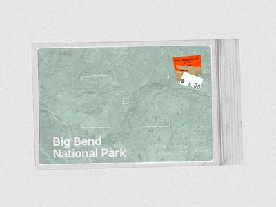 Big Bend National Park, Texas - Postcard Project postcards minimalism minimalist typehike national parks desert sanserif typeface typography type conceptual concept postcard design postcard