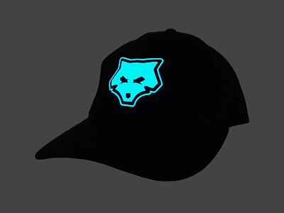 Upstain Wear Black Caps Glow In The Dark Wolf Edition upstain wear mascot icon logo wolf realpict glow in the dark streetwear brand cap caps