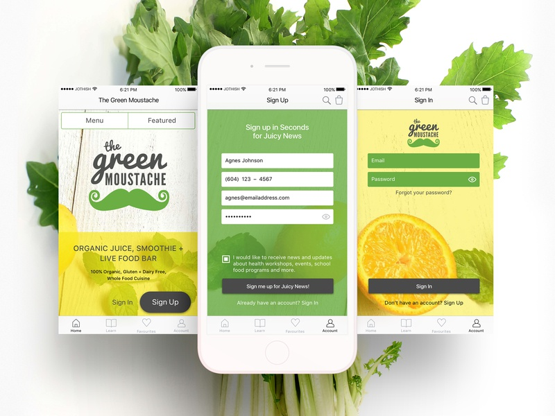 The Green Moustache (high-fi screens for an iOS app) user interface visual design ui design mobile cards app ui uiux ux jothish