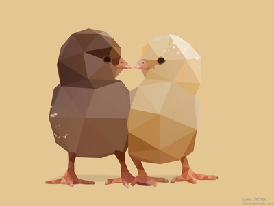 Chicks. bird chicks photoshop low polygon low poly vector illustration animals ui chick birds chicken