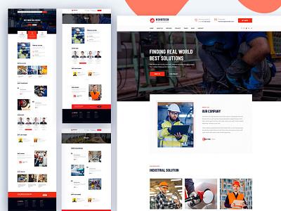 Henotech – A Construction PSD & HTML  Template psd illustration ui ux  ui download clean creative agency construction website design html bootstrap