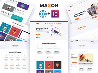 Maxon – Free Creative agency WordPress Theme ajax web developement web design freebie corporate theme creative agency download theme download free elementor free theme wordress