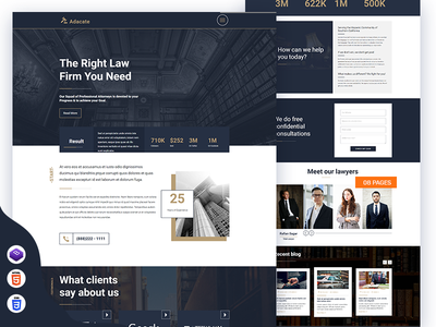 Adacate – Complete Law Solution HTML5 Template (Free Download) free download bootstrap 4 law enforcement download law office freebie html template solution advocate law firm creative agency