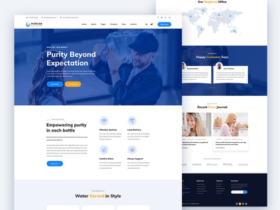 Purican – Drinking Mineral Water Delivery HTML5 Template corporate design design ui agency creative download water supply purican html template html delivery water minerel minerel