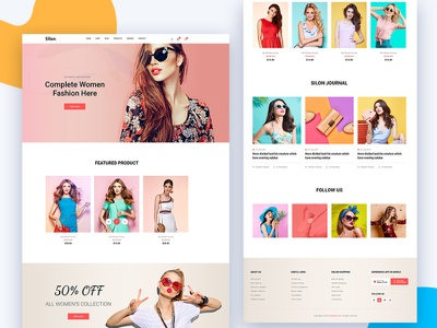 Silon – One Page E-Commerce  PSD & HTML Template (Free Download) shopify shop one page onepage eccomerce download corporate design ux  ui ui html freebie free creative