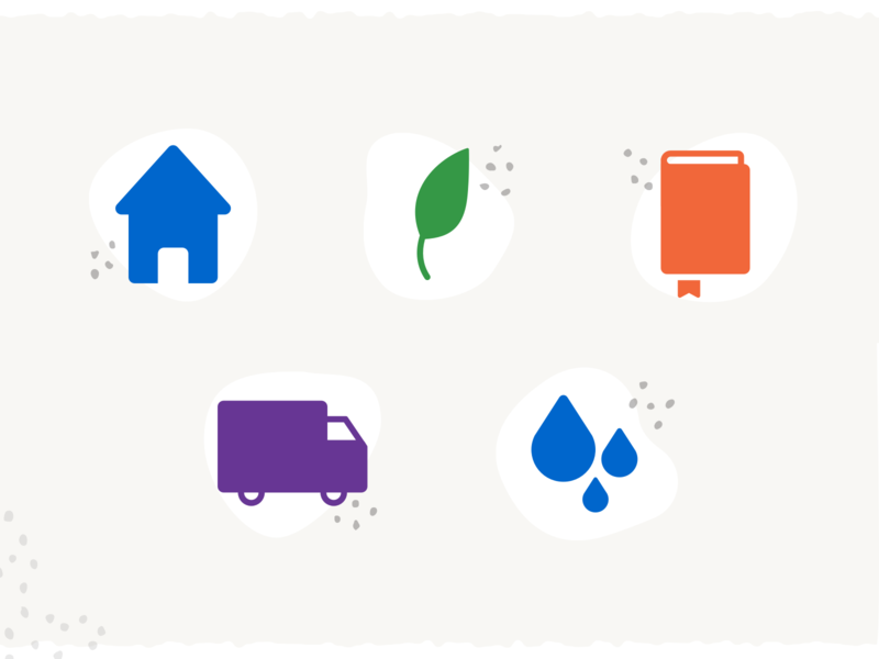 Blobby Earthy Icons water truck texture spots speckles shipping pattern leaf icons house grit earthy earth dots colorful book boho blobs blobby blob