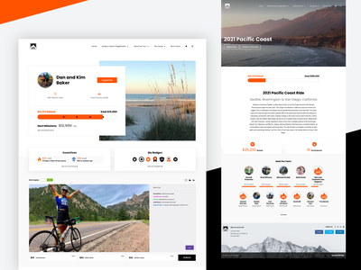 Bike the US for MS bike ride map route orange black multiple sclerosis fundraiser donation badge thermometer leaderboard banner bike ui site non profit fundraising website charity donate