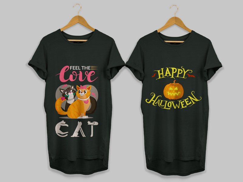 Halloween T-Shirt And Feel The  Cat Love Shirts Design print design graphic design illustration printing design halloween party free download vector cats love lover cat free psd human happy shirt t-shirt halloween design halloween