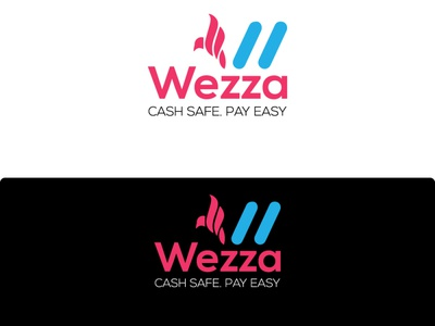 Cash safe pay with bird style and squared shape logo design