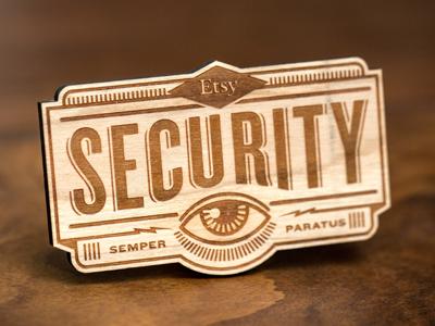 Security Badge illustration wood etsy typography laser cut eye
