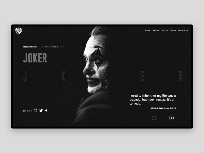 Joker dark web ui dc comics wb webinterface trending interface flat 2020 minimal dark ui uidesign webdesign uiux