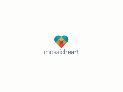 Mosaic heart logo design