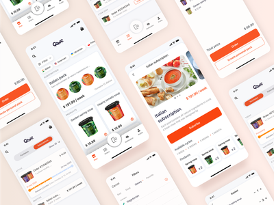 Mobile e-commerce experience orders delivery app innovation flat food shop subscription ecommerce mobile ux design ui design ios iot