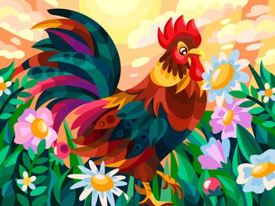 bright rooster flowers summer rooster bird drawing draw flat cartoon illustration cartoon artwork artist illustration design
