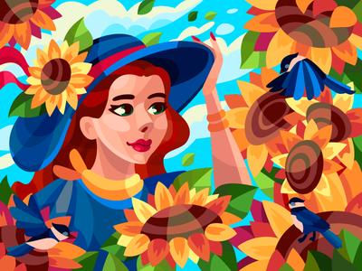 Summer mood sunflowers sunflower girl women bird birds drawing draw art flat cartoon illustration cartoon artwork artist illustration design
